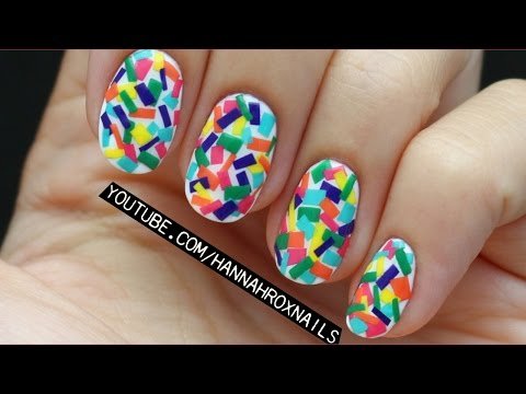 Confetti Nail Art (with just polish! EASY!)