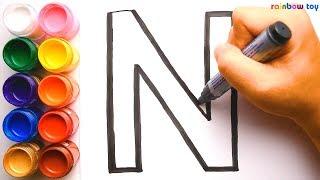 Học Vẽ Và Tô Màu Bảng Chữ Cái Tiếng Anh A Đến Z | Coloring pages for kids | ☆♫🌈 Rainbow Toy Art ♫☆|