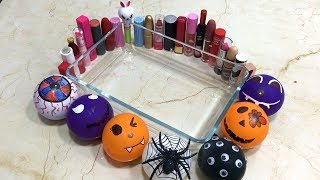 Making Slime with Halloween Balloons and Mixing Lipstick into slime | Tom Slime