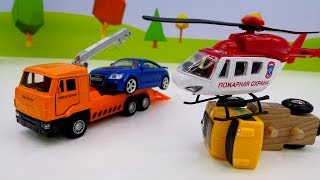 Helper Cars & toy helicopter. Toy cars for kids.