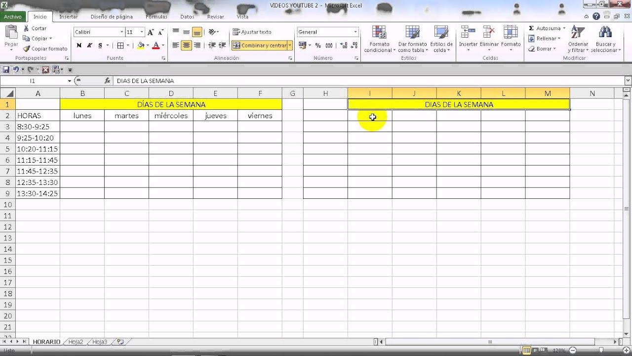 Excel 2010 b sico c mo hacer un horario semanal youtube for Una puta con horario de oficina