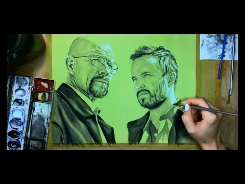 Walter White and Jesse (Breaking Bad Art) -- Speed Painting