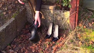 How to walk in Black Ankle Boots and High Heels wih Golden PVC Leggings