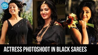Bollywood Black Beauties Hot B&W Sarees Photoshoot