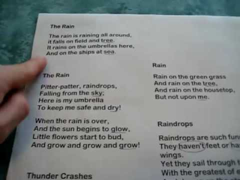 Grade 1 - Reading And Rhymes: Collect Poems And Songs On Rain And Cloudy Day Theme. video