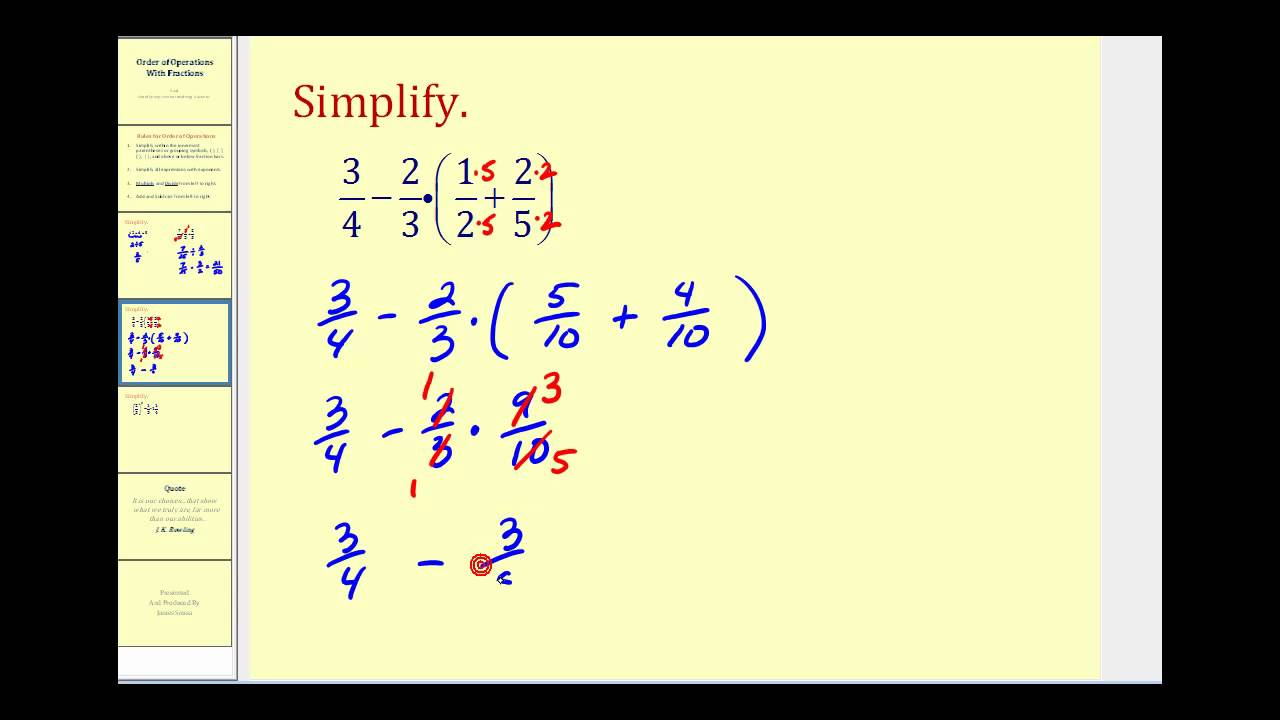 Order of Operations Involving Fractions - YouTube