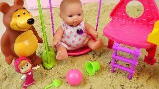 Baby doll sand toys and play park car toys play