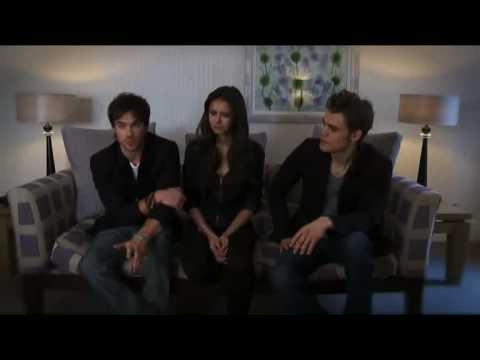 Nina Dobrev, Paul Wesley, Ian Somerhalder talk to ITV2 while over in the UK to promote the Vampire Diaries.
