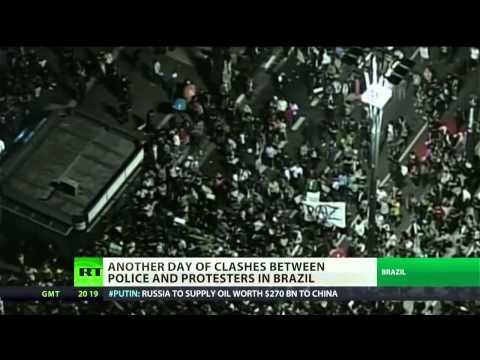 Police join protesters in Brazil