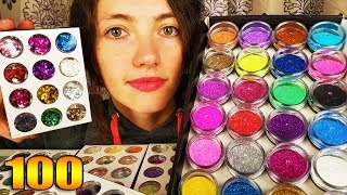 Mixing 100 Bottles Of Glitter Into Clear Slime - #SuperGlitterSlime