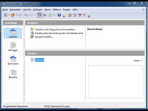 01 OpenOffice Base: Eine neue Datenbank anlegen und  eine Tabelle erstellen
