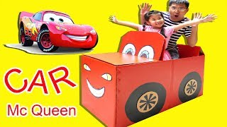 TRÒ CHƠI Ô TÔ BẰNG GIẤY KHỔNG LỒ ♥ BÉ BÚN - BÉ BẮP ♥ MAKE MCQUEEN CARDBOARD CAR FOR KIDS