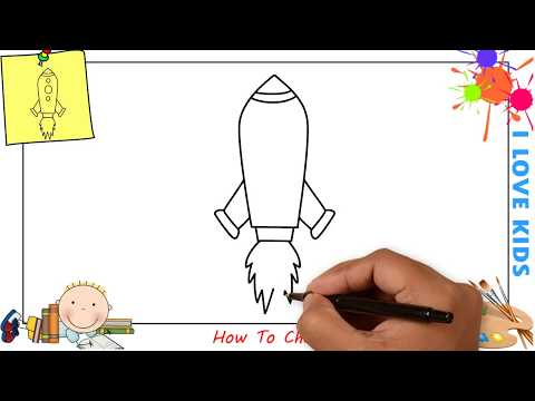 How to draw a rocket EASY step by step for kids, beginners, children 2