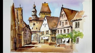 Pen and Wash Watercolor demonstration : Old Quarter