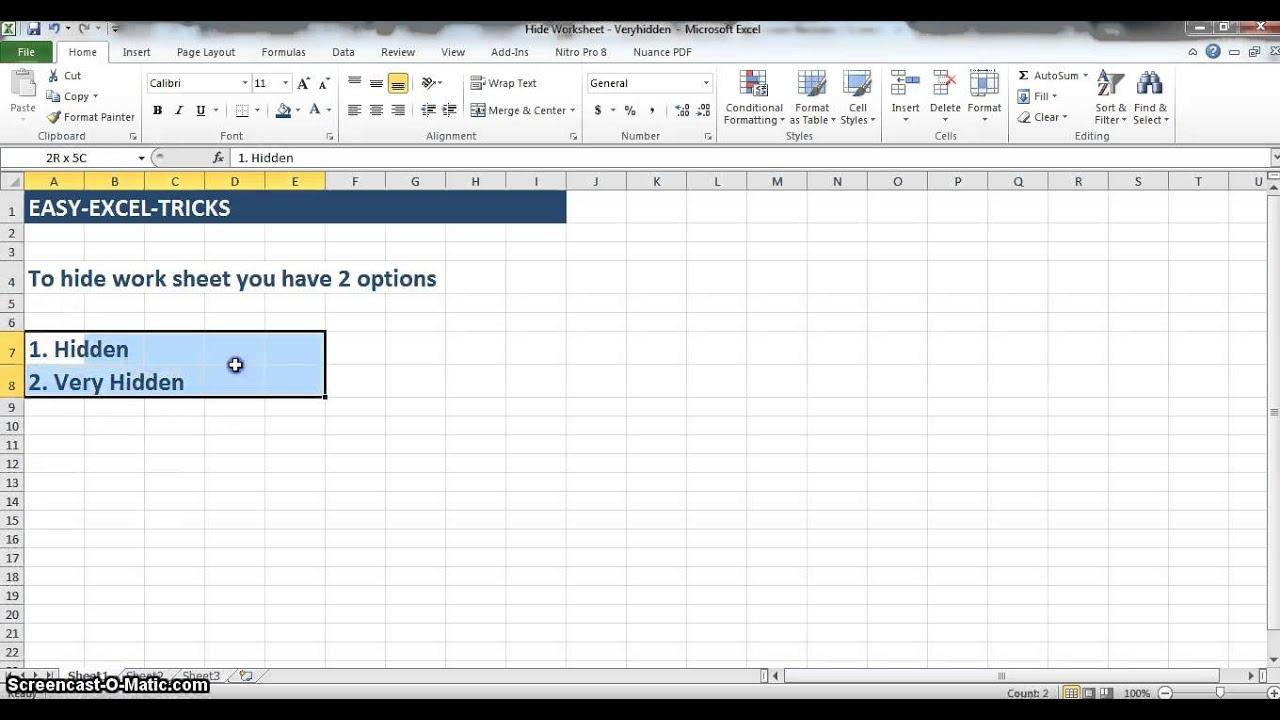 Excel hidden worksheets 2010