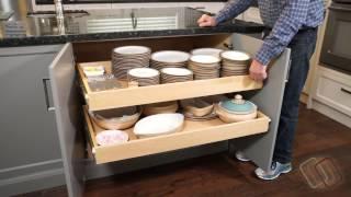 Installing gliding shelves in a frameless cabinet