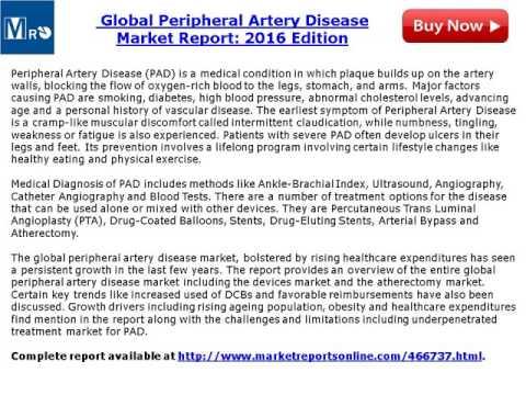 MarketReportsonline: Global Peripheral Artery Disease Market Report 2016 Edition