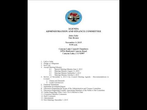 Canyon Lake Admin and Finance Committee November 3, 2015