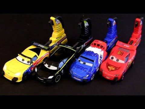 Disney Cars 2 Porto Corsa Launching Play Set 4 Racers Crashes On Impact
