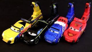 Cars 2 Porto Corsa Launching Set 4 Racers w/ Launchers Disney Pixar 2013 crash buildable toys
