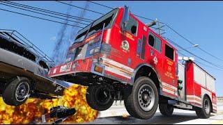 GTA 5 HIGH SPEED FIRETRUCK CRASHES - RECKLESS COMPILATION #11 (CRASH/RAGDOLL PHYSICS)