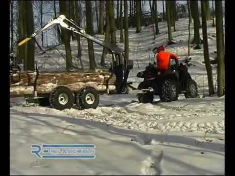 ATV Quad Mit Rückewagen Und Forstkran