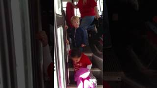 Lucas getting off the bus first time