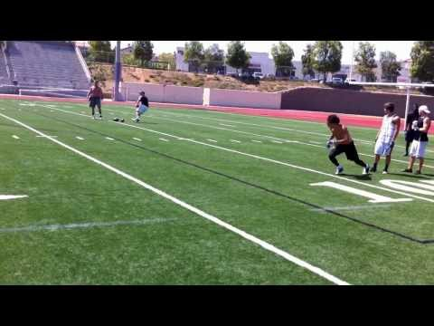 Dartmouth bound receiver Dana Barbaro catching passes from Jeff Garcia on 8/5/10. Routes include slant, curl, comeback, out, corner, drag, and go. Filmed at ...