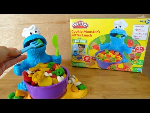 Play Doh Kids Toys Cookie Monster Letter Lunch クッキーモンスター 粘土