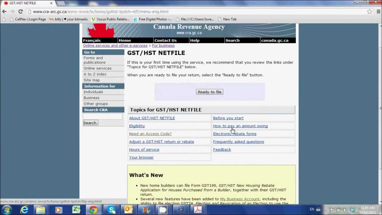 File Your Gst Hst Return Online Youtube