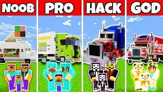 Minecraft Battle: FAMILY TRUCK BUILD CHALLENGE - NOOB vs PRO vs HACKER vs GOD - Minecraft