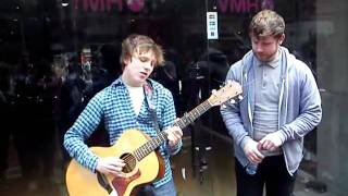 Heartbeats cover busking in Grafton Street with Kevin Fagan