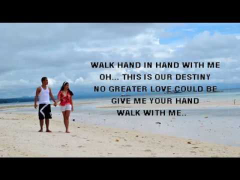 Walk Hand in Hand With Me -cover ( Lyrics on screen)