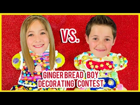 GINGERBREAD BOY COOKIE DECORATING CONTEST! HOLIDAY GINGERBREAD DECORATING KIT REVIEW BY PLP TV