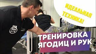 Тренировка ягодиц и рук в Фитнес клубе Физра / Евгений и Регина