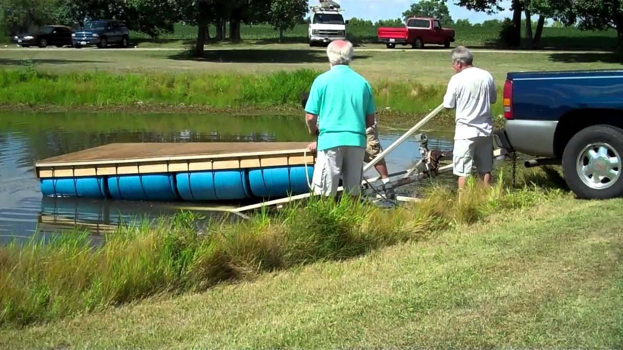 Launching homemade boat or raft. - YouTube