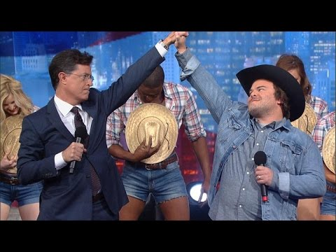 Stephen Colbert mocks politicians that use unauthorized famous songs in their campaign then performs new original campaign song free for all politicians to use with Jack Black