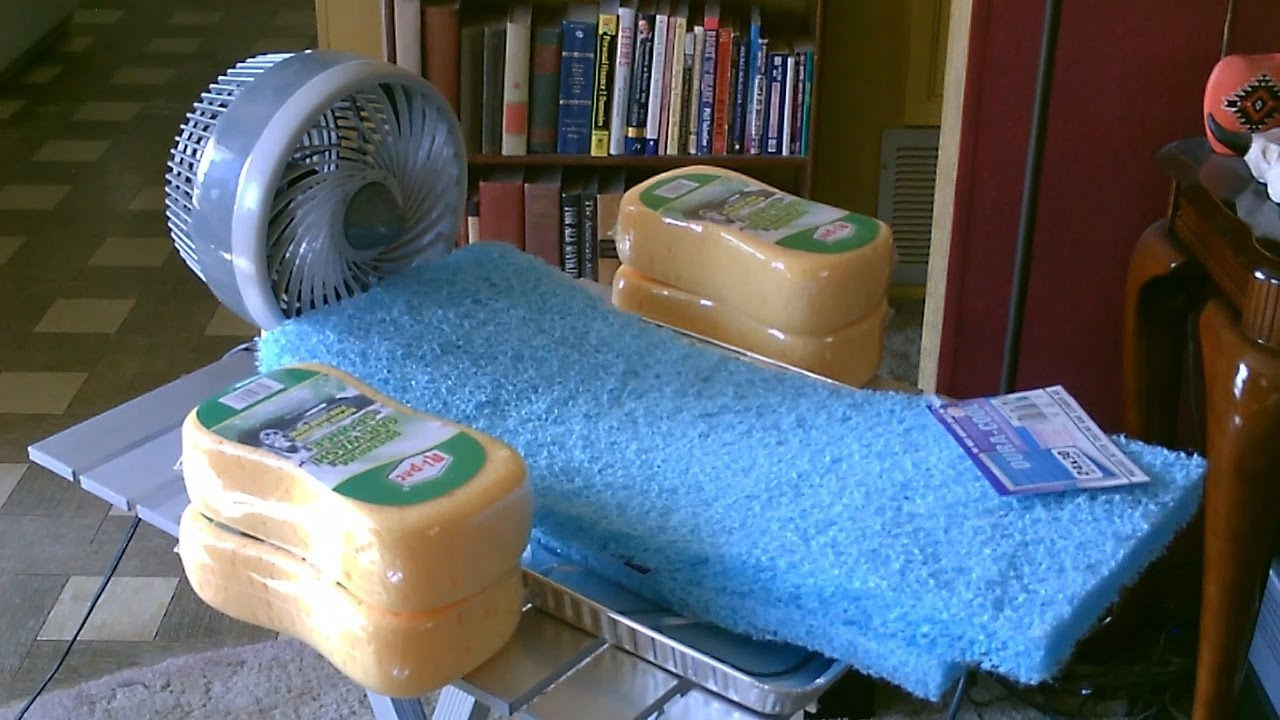 homemade sponge humidifier air cooler diy fan forced evap cooler humidifier youtube. Black Bedroom Furniture Sets. Home Design Ideas