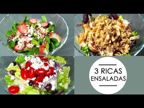 3 RICAS ENSALADAS (oriental, griega y espinacas)