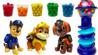 Learn Colors & Matching with PAW PATROL Pups and Gum ball Machine with Gum balls for Kids
