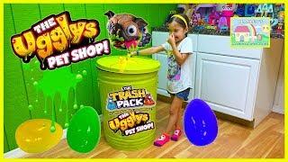 World's Biggest Surprise Egg Trash Can Toy Surprises | Ugglys Pets TrashPack Garbage Truck Kid Video