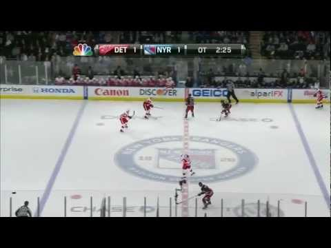 Michael Del Zotto feeds the puck to Ryan Callahan who rips a shot from the slot and scores the game winner with 2:18 left in overtime. Happy birthday Captain...
