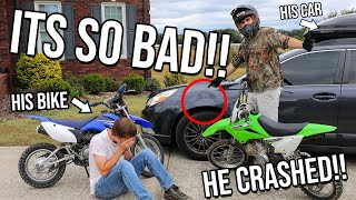 WE CRASHED INTO HIS CAR! *Dirt Bike FAIL*
