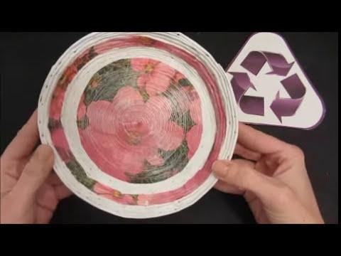 Reciclaje: Plato hecho con periódicos.