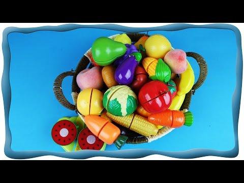 Учим фрукты и овощи, Режем фрукты и овощи на липучках. Обучающее видео для детей