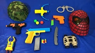 Learn Colors with Toy Guns for Kids Spiderman and Military Toys