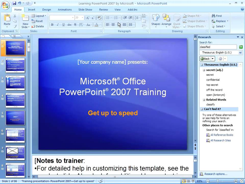 powerpoint 2007 - working with speaker notes