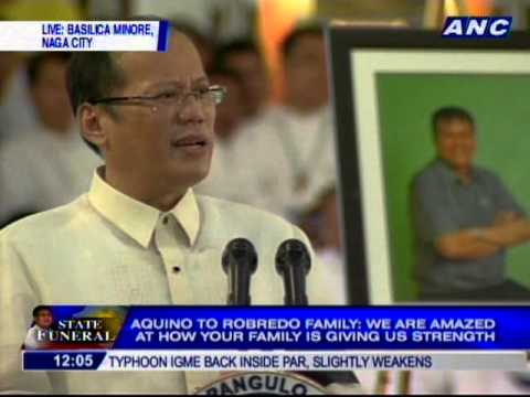 Pres. Aquino delivers eulogy for Sec. Robredo