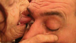 Elderly Woman Licks Eyeballs Clean For Living