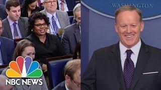April Ryan, Sean Spicer Seem To Move Past Heated 'Road Kill' Exchange   NBC News